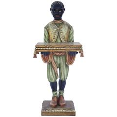 Polychrome Carved Wood Blackamoor Stand