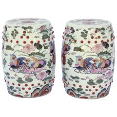 Pair of Hand-Painted Chinese Porcelain Drum Stools