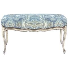 Painted Louis XV Bench with Onyx Fabric Seat