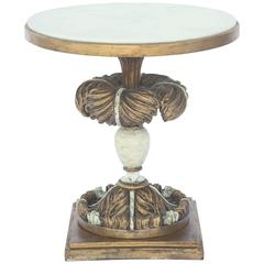 Round Accent Table with Marble Top on Painted and Parcel-Gilt Plume Base