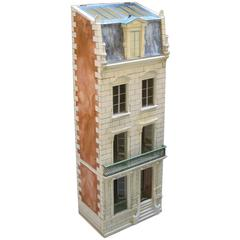 Masterfully Crafted Wooden Painted Dollhouse/Cabinet by Eric & Carole Lansdown