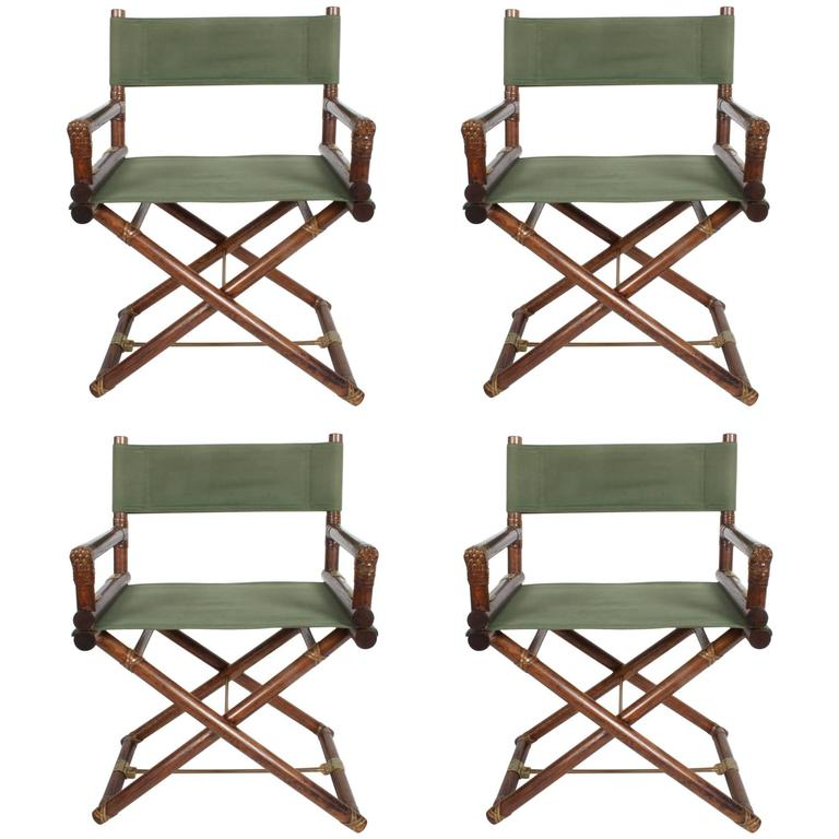 Set Of Four McGuire Furniture Directoru0027s X Campaign Chairs For Sale