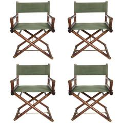 Set of Four McGuire Furniture Director's X Campaign Chairs