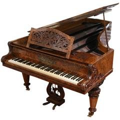 19th Century Collard Collard Walnut Burl Art Case Grand Piano