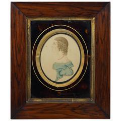 Regency Watercolor Portrait Miniature Lady in Blue, Tortoiseshell Effect Mount