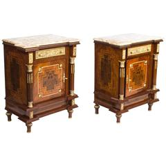 Large Pair of Marble-Top Empire Side Tables Bedside Cabinets