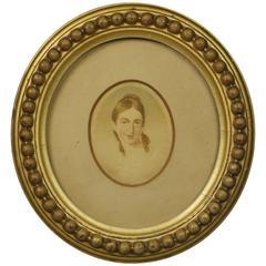 19th Century Georgian Portrait Miniature Lady Oval Gilt Gesso Frame