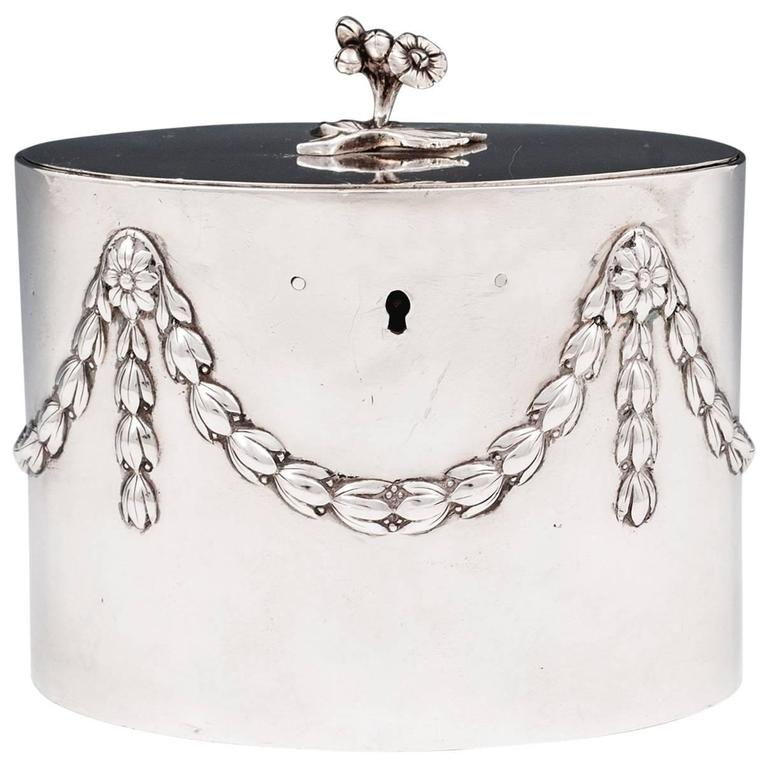 Antique Georgian Sterling Silver Tea Caddy by William Vincent For Sale