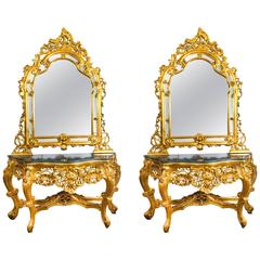 Vintage Louis Revival Carved Giltwood Console Table Mirror 20th Century