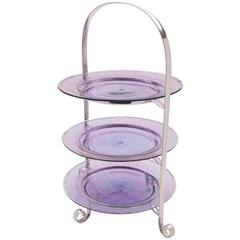 20th Century Three-Tier Silver Plated Cake Stand with Glass Plates