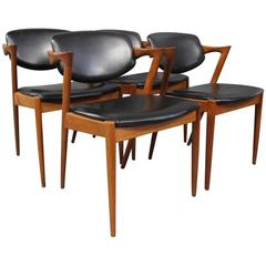 set of four dining room chairs model 42 by kai kristiansen 1960s