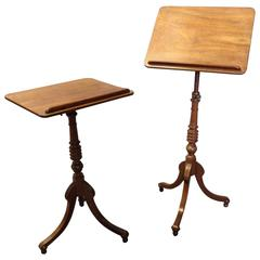 Pair of Regency Mahogany Tripod Occasional Tables or Music and Reading Stands