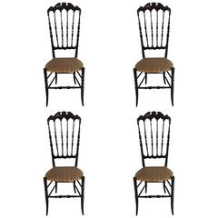 Pair of Four Chiavari High Back Chairs, Italy, 1950s