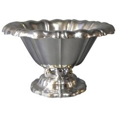Large Bowl on Foot/Centerpiece in 835 Silver Stamped E. Timmermann and Numbered