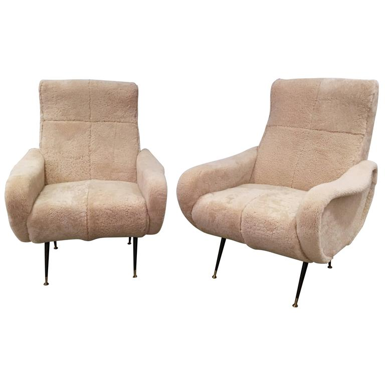 Pair of Mid-Century Italian Chairs, Shearling and Black Metal, circa 1950s For Sale