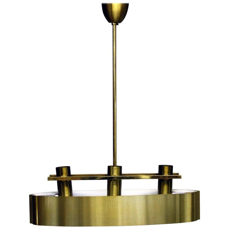 French 20th Century Brushed Brass Ceiling Light