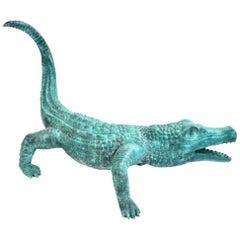Lifesize Bronze Crocodile Alligator