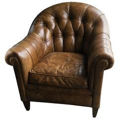 Yummy Barrel Shaped Tufted Leather Club Chair