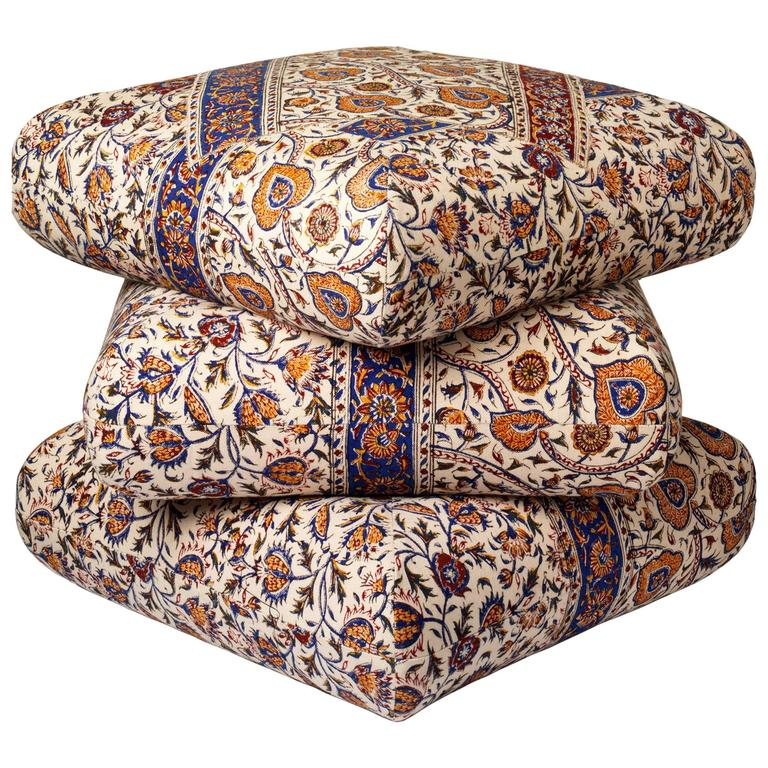 Cabana Ottoman Pouf in One of a Kind Ghalamkar Persian Textile 1