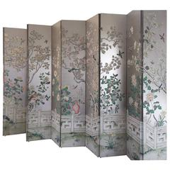 Magnificent and Monumental Silver Leaf Hand-Painted 5 Panel Screen