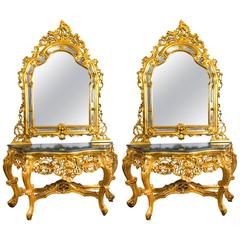 Pair of Fantastic Rococo Style Console Tables Mirrors