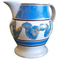 Mocha Pottery Blue Earthworm English Pottery Jug