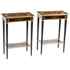 Pair of Louis XVI Style Walnut in Laid Occasional Tables
