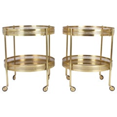 Chic Pair of Mid-Century Serving Carts or Tables