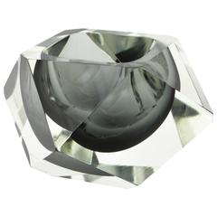Flavio Poli Grey and Clear Faceted Sommerso Murano Glass Giant Bowl