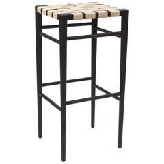 Smilow Furniture Ebonized Walnut Bar Stool with Leather Webbed Seat