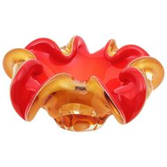 Red and Amber Sommerso Murano Glass Art Flower Bowl