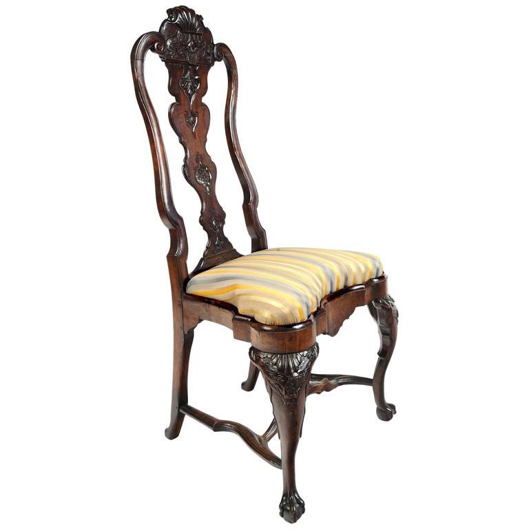 Portuguese Rococo Walnut Side Chair For Sale