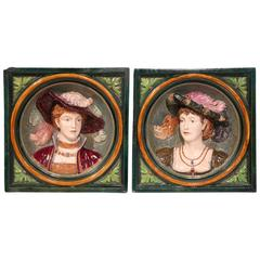 Pair of 19th Century, French Hand-Painted Barbotines High Relief Wall Plaques