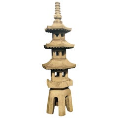 "Japanese Inspiring Antique  ""Five Elements"" Stone Pagoda- hand carved 10 feet"