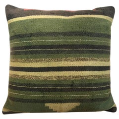 Green Decorative Pillows Hand Woven Kilim Decorative Pillow Bench Cushion Cover