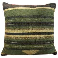 Green Decorative Pillows Hand Woven Kilim Decorative Pillow Bench Cushion Cover