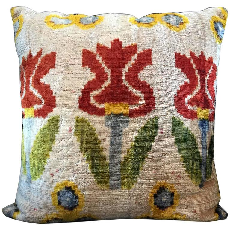 Vintage Decorative Throw Pillows : Decorative Antique Vintage Handmade Turkish Velvet Pillow Cover For Sale at 1stdibs