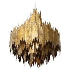 Tom Greene Torch Cut Brass Brutalist Chandelier