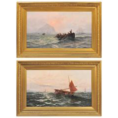 Pair of Paintings by Thomas Rose Miles, off the Coast of St Michaels Mount