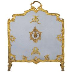 Antique French Fire Screen, Louis XVI Style
