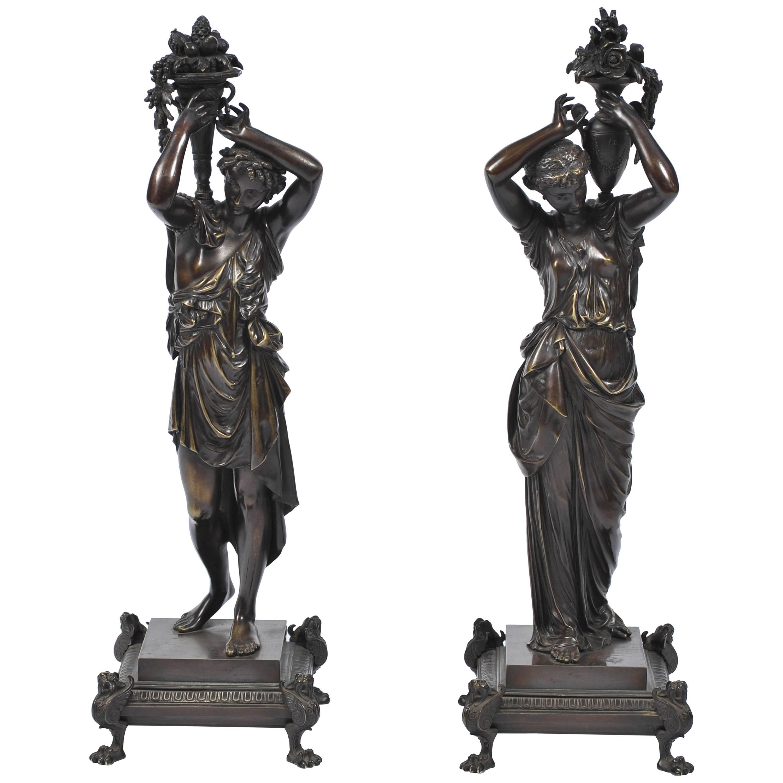 Pair of Classical Antique Bronze Statues