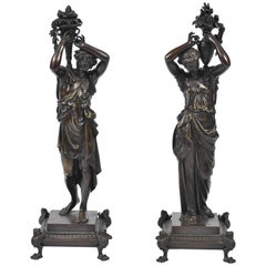 Pair of Classical Antique Bronze Statues