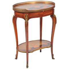 Antique French Inlaid Side Table, in the Style of Charles Topino