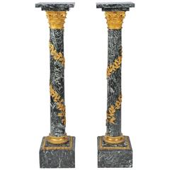 Pair of Louis XVI Style Antique Marble Pedestals