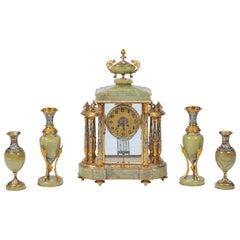 Antique French Louis XVI Style Clock Set