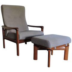 Mid-Century Danish Modern Komfort Teak Lounge Chair and Ottoman