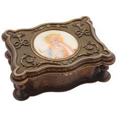 19th Century French Brass Jewelry Casket