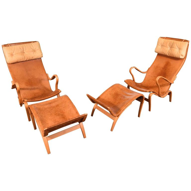 Pair of Bruno Mathsson Pernilla Chairs with Ottomans For Sale