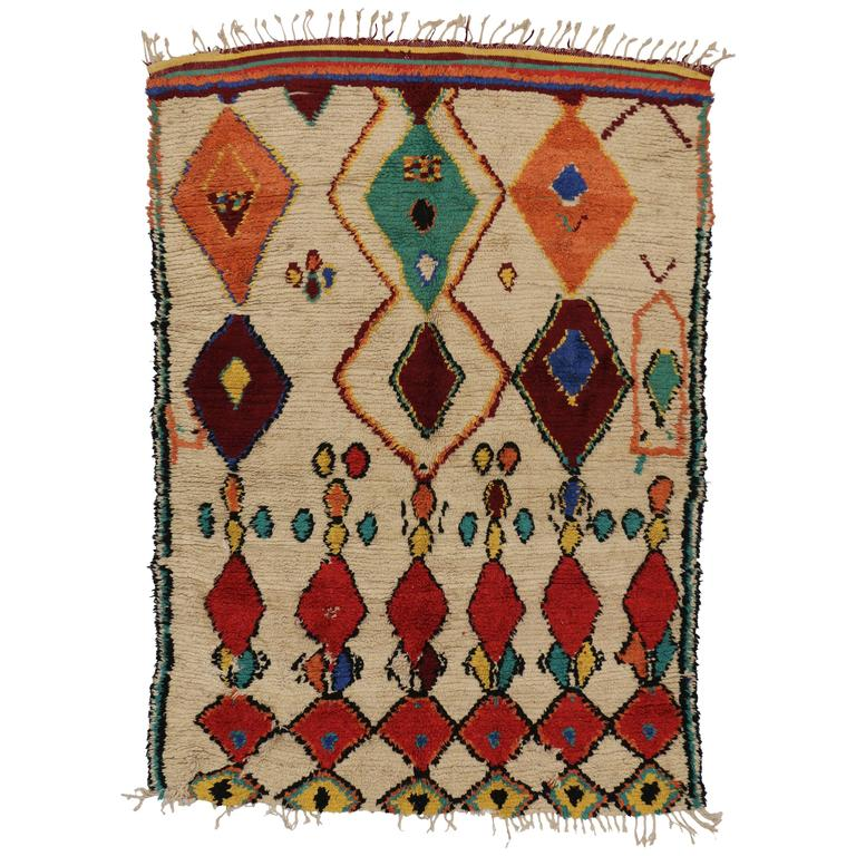 Mid Century Modern Style Red Berber Moroccan Rug With: Mid-Century Modern Vintage Berber Moroccan Rug With Boho