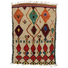 Vintage Berber Moroccan Azilal Rug with Boho Chic Tribal Style
